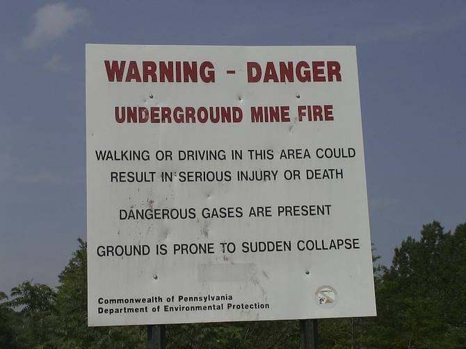 Centralia warning sign