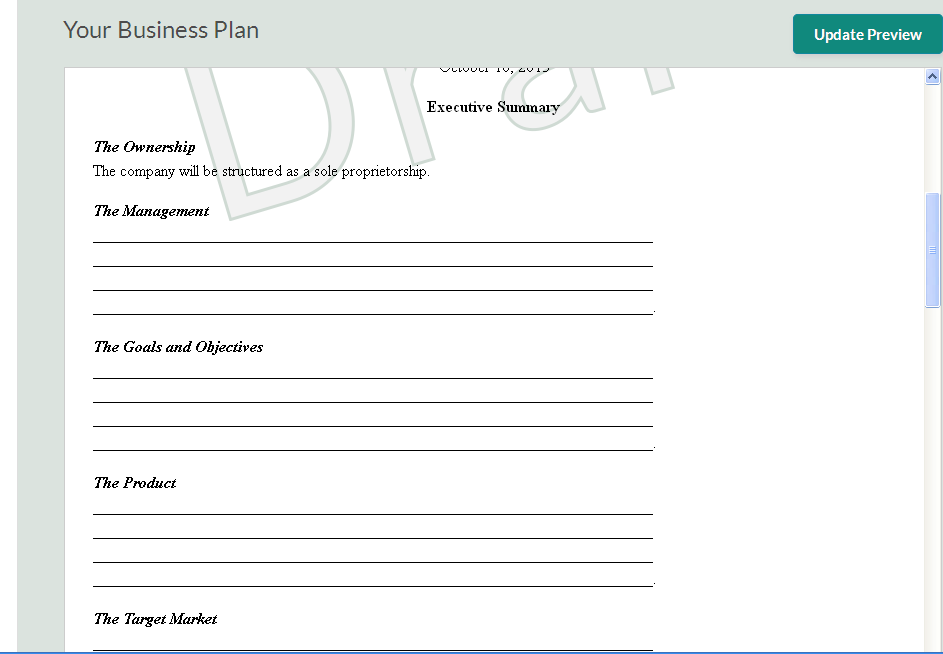 Business plans template