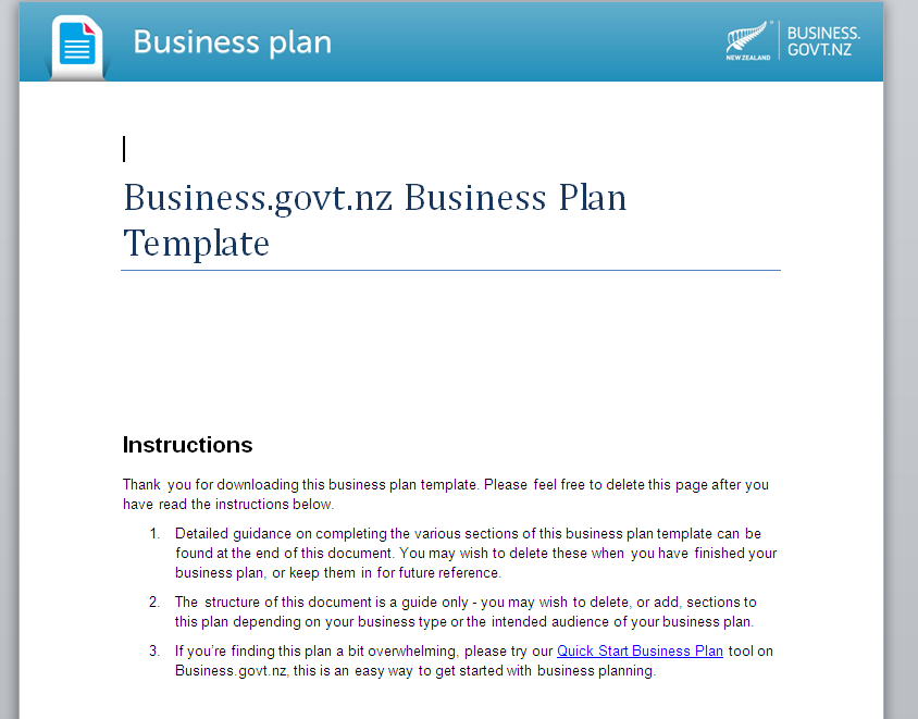 newzealand business plan template
