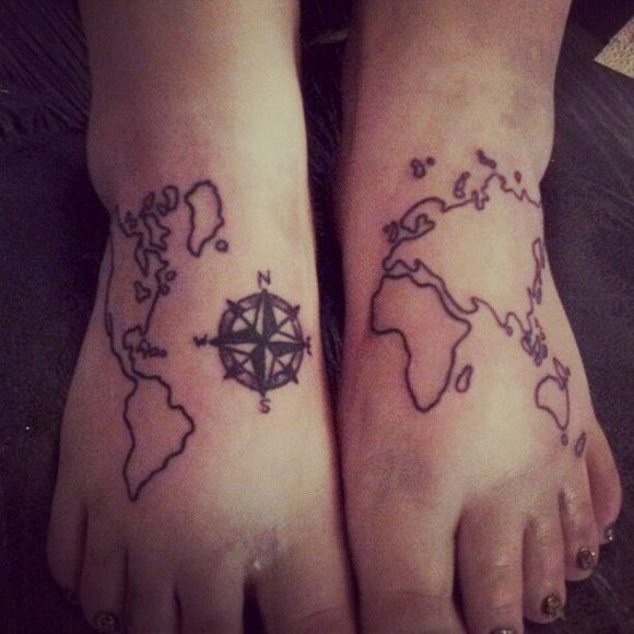 50 beautiful compass tattoo designs and meanings this design is symbolic to mean a lot of things such as you want to have the world at your feet or you want to travel the entire world just depends gumiabroncs Gallery