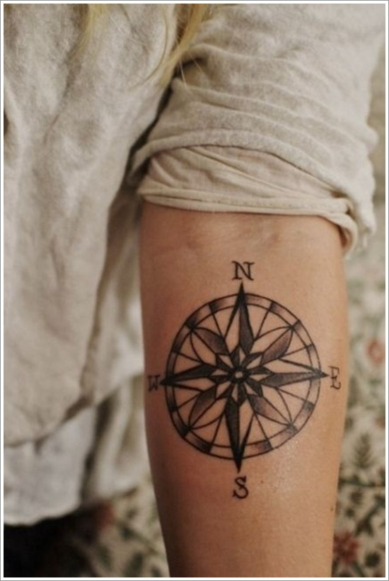 A Ceramic designed Compass Tattoo