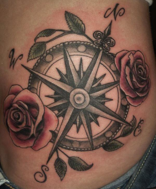 de371c020 50 Beautiful Compass Tattoo Designs and Meanings