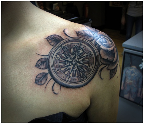 a63f84d67 #29: A Compass Tattoo In the Middle of a Rose Branch