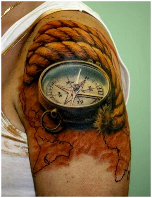 A Compass Tattoo to Depict Dangerous Professions