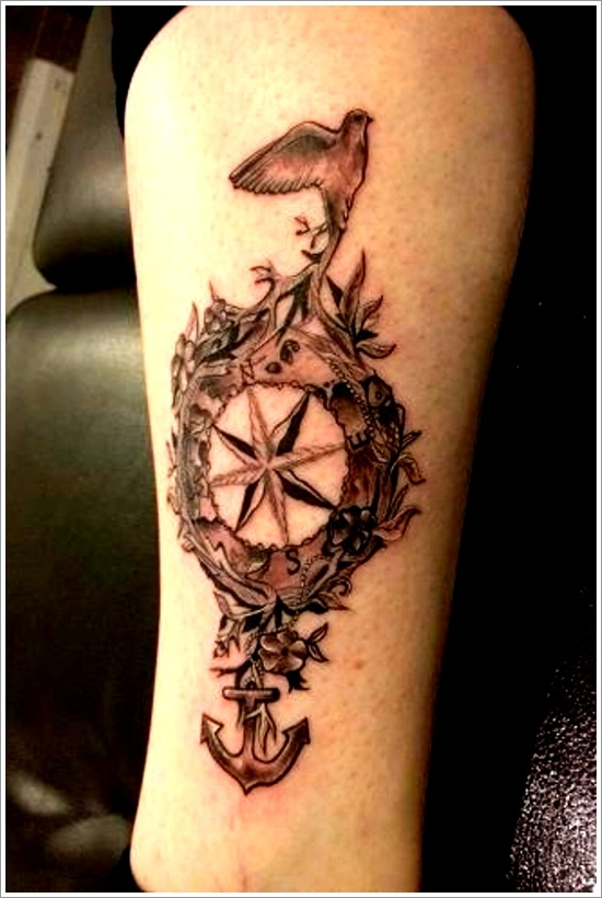 An Artistic Representation of a Compass Tattoo