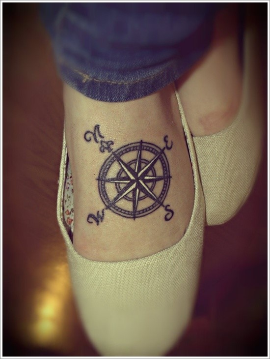 Compass Tattoo on Upper Side of a Foot