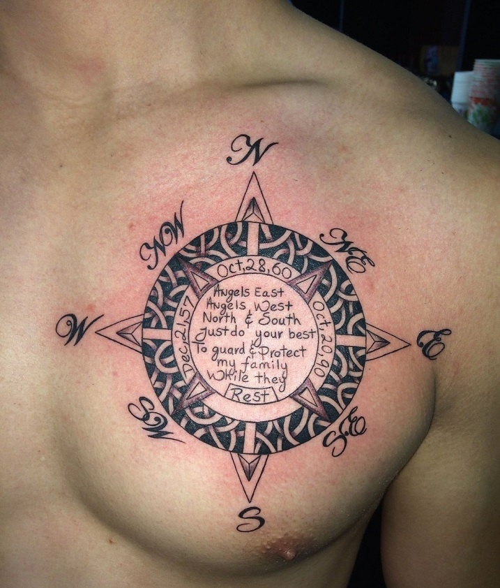50 Chest Quote Tattoo Designs For Men: 50 Beautiful Compass Tattoo Designs And Meanings