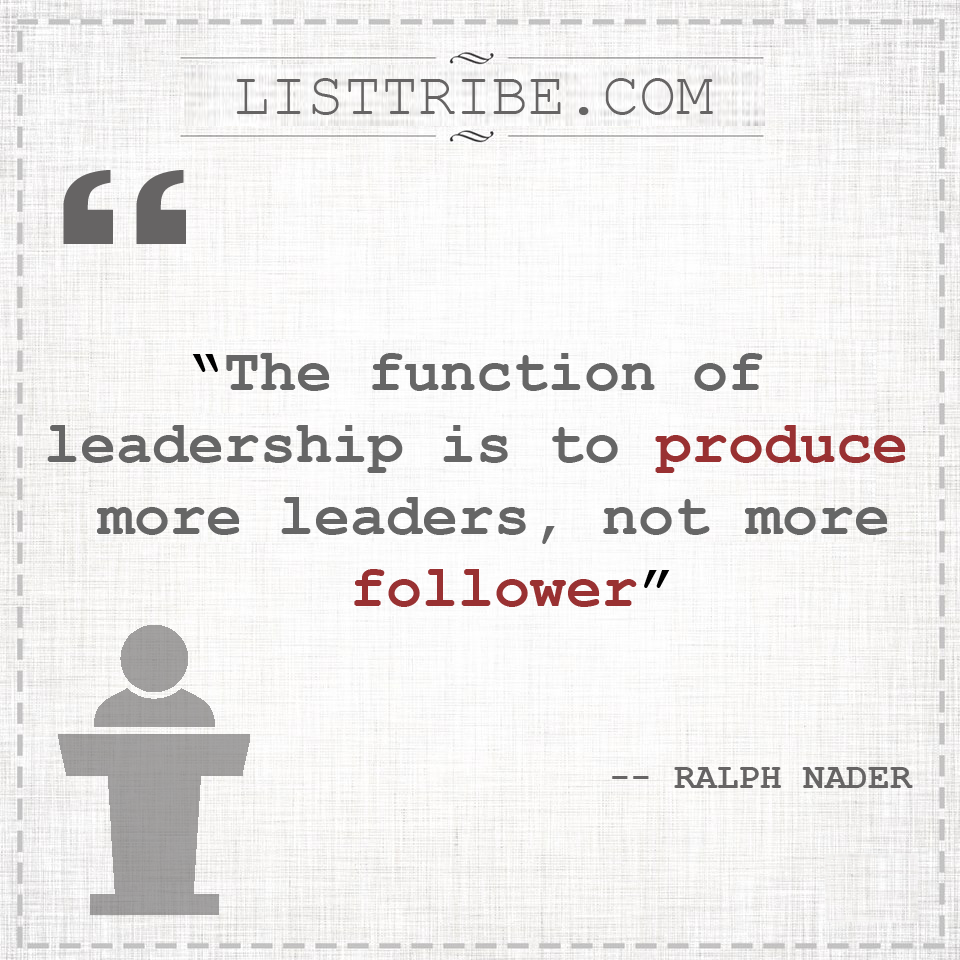 RALPH NADER's quote regarding the Leadership.