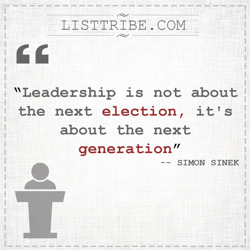 SIMON SINEX's quote regarding the Leadership.